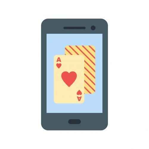 Puhelin ja pelikortit